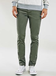 Topman Khaki Stretch Skinny Chinos Green