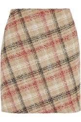 Carven Checked Wool Blend Mini Skirt Nude