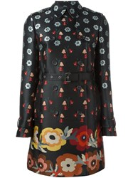 Red Valentino Floral Print Trench Coat Black