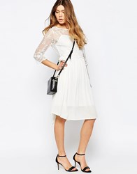 B.Young 3 4 Sleeve Dress With Lace Overlay Off White