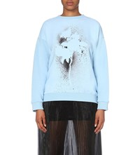 Christopher Kane Digital Spray Paint Cotton Jersey Sweatshirt Powder Blue Single