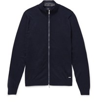 Hugo Boss Cotton And Wool Blend Zip Up Cardigan Navy