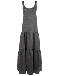 Lisa Marie Fernandez Dark Grey Linen Tier Dress