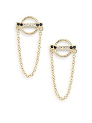 Elizabeth And James Lunette Black Spinel And White Topaz Renzo Drop Earrings Gold