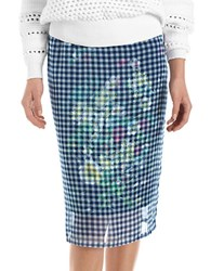 424 Fifth Plus Floral Checkered Skirt Nightfall