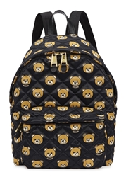 Moschino Bear Print Quilted Satin Backpack