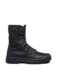 Palladium Pallabrouse Leather Lace Up Boots Black