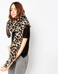 Asos Oversized Lightweight Scarf In Leopard Print White