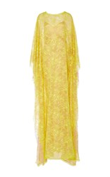 Alexis Mabille Lace Caftan Butterfly Sleeve Dress Yellow