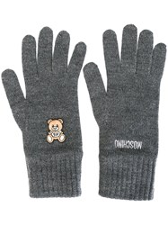 Moschino Toy Bear Gloves Grey