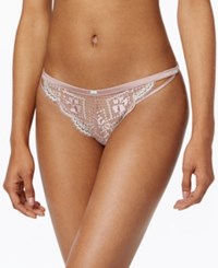 Heidi Klum Intimates Little Havana Satin And Lace Bikini H30 1366 Deauville Mauve Blue Light