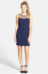 Junior Women's Hailey Logan Jeweled Illusion Yoke Body Con Dress Navy