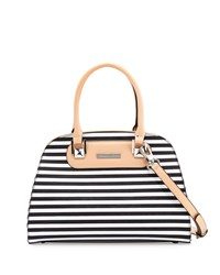 Charles Jourdan Wanda 3 Striped Leather Dome Tote Bag Black White