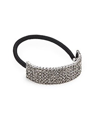 Saks Fifth Avenue Pave Ponytail Holder Silvertone