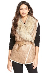 Dena Faux Shearling Belted Vest Taupe Print Leather