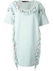 Love Moschino Beaded Fringe Denim Dress Blue