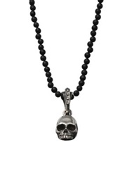 King Baby Studio Hamlet Skull Beaded Necklace Black Onyx Sterling Silver