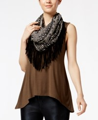 Amy Byer Bcx Juniors' High Low Scarf Tank Top Olive