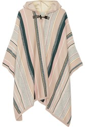 Maiyet Leather Trimmed Striped Cashmere Blend Cape Beige