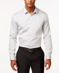Inc International Concepts Men's Non Iron Striped Long Sleeve Shirt Only At Macy's Grey