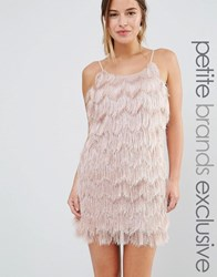 True Decadence Petite Fringe Layered Cami Mini Dress Blush Pink