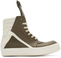 Rick Owens Green And Cream Geobasket High Top Sneakers