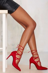 Nasty Gal Brielle Lace Up Suede Pump Red