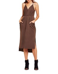 Bcbgeneration Faux Wrap Midi Dress Brown