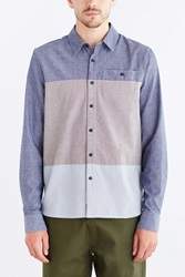 Native Youth Mixed Chambray Button Down Shirt Blue