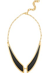 Maiyet Butterfly Gold Plated Horn Necklace Black