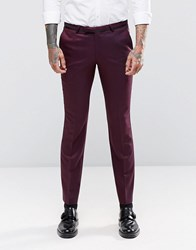 Noose And Monkey Super Skinny Tuxedo Trousers With Satin And Stretch Burgundy Red