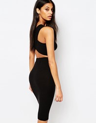 Daisy Street Crop Top With Cross Back Black