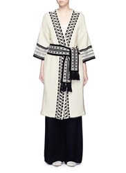 Mame Lace Stripe Belted Wool Mohair Knit Coat White