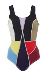 Cynthia Rowley Color Block One Piece Black Red Blue