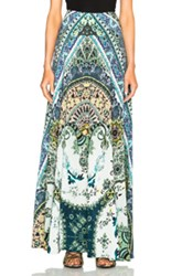 Etro Clean Silk Maxi Skirt In Blue Abstract