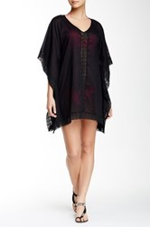 Sheer V Neck Kaftan Black
