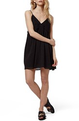 Women's Topshop Embroidered Babydoll Sundress Black