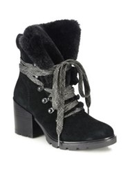 Kendall Kylie Spencer Suede And Faux Fur Block Heel Booties Black