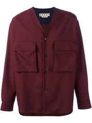 Marni Raw Edge V Neck Shirt Red