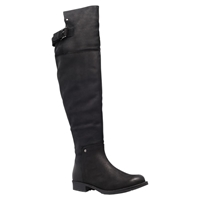 Miss Kg Winona Leather Stretch Panel Low Flat Heel Knee High Boots