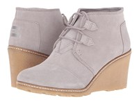 Toms Desert Wedge Drizzle Grey Suede Faux Crepe Wedge Women's Wedge Shoes Gray