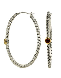 Lord And Taylor Sterling Silver Hoop Earrings With 14 Kt Yellow Gold Bezeled Garnet Sterling Silver 14K Yellow Gold