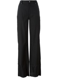 Maison Martin Margiela Mm6 Pinstripe Wide Leg Trousers Black