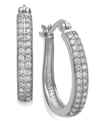 B. Brilliant Sterling Silver Earrings Cubic Zirconia Two Row Pave Hoop Earrings 1 2 Ct. T.W.