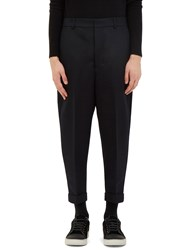 Ami Alexandre Mattiussi Carrot Cut Wool Twill Pants Navy