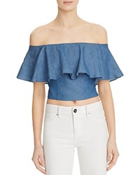 Mustard Seed Off The Shoulder Ruffle Crop Top Chambray