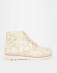 Kickers Lite Text Lace Up Ankle Boots Cream