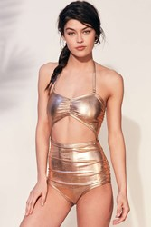 Out From Under Kiki Gold Ruched One Piece Swimsuit Bronze