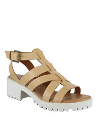 Mia Nadie High Heel Leather Sandals Brown