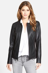 T Tahari 'Lucia' Collarless Leather And Ponte Jacket Online Only Black